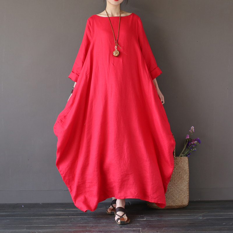 19 Summer autumn Plus Size Dresses Women 4xl 5xl Loose long vintage Dress Boho Shirt Dress Maxi Robe fashion Female Q293 7