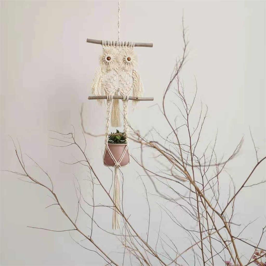 Hanging Planter Plant Hanger rattan macrame wall hanging кашпо Hand-Woven Rope Net Bag Basket Hanging Wall Hanging Free Ship Z4