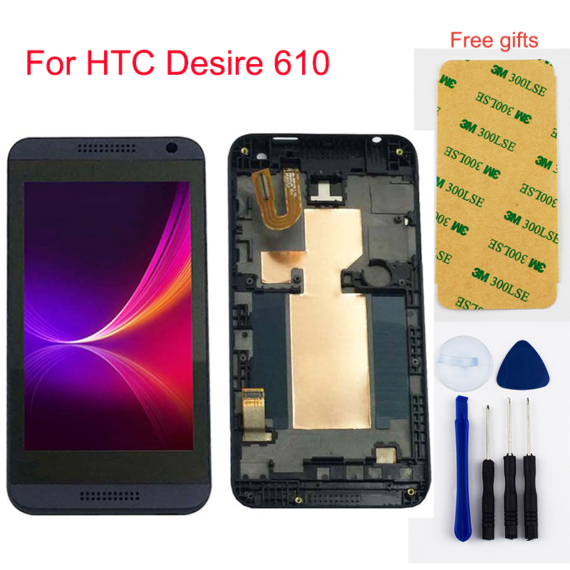 For HTC Desire 610 LCD D610n Full LCD Display Panel Monitor Touch Screen Digitizer Sensor Glass Assembly + Frame Single Sim