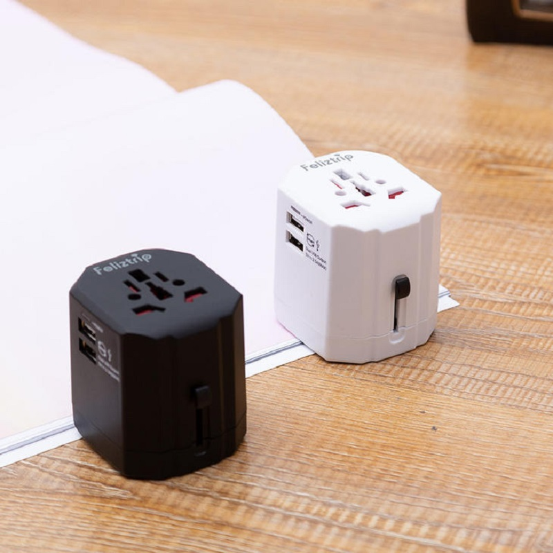Universal Power Adapter USB International Travel Adaptor All in One Worldwide Plug Fast Charger Outlet with 4 USB Ports AC Socket for US to AU UK Europe Over 224 Countries