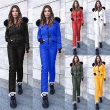 Женский зимний плотный лыжный костюм однотонный Модный комбинезон