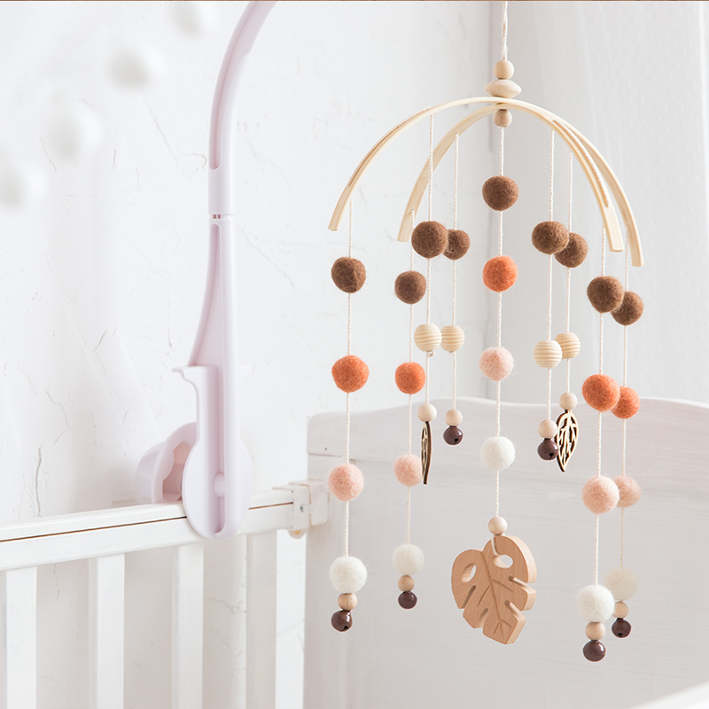 1 Set Baby Mobile Bed Bell Silicone Beads Beech Wood Bird Rattles Kids Room Bed Hanging Decor Wood Rodent Children Products Toys