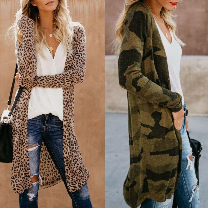 Leopard Print Cardigan Women 2019 Long Sleeve Lady Cardigans Camouflage Long Cardigan Kimono Tops Jackets Coat For Women Outwear