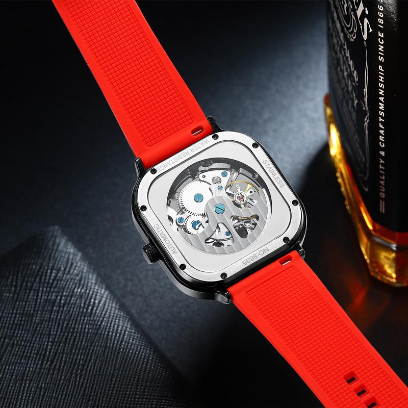 2020 new men's automatic watch top brand luxury silicone strap hollow Swiss square top ten watches 6
