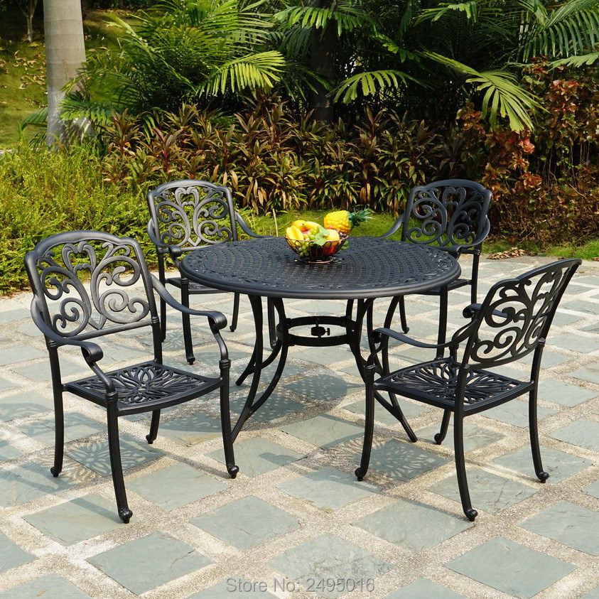 5 piece cast aluminum patio furniture dining set four chairs with round table dia123cm water resistant for garden backyard