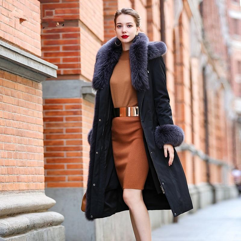 Coat Fur Real Female Natural Luxury Rabbit Fur Parka 2020 Winter Jacket Women Real Fox Fur Collar Warm Long Coats MY3497 S
