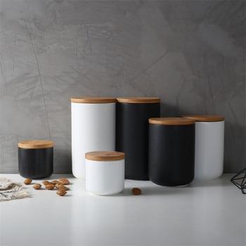 Nordic kitchen white black sealed ceramic storage jar spice jar container, salt storage bottle with wooden lid coffee tea jar weed tobacco storage bottle jar glass sealed small jar with lid 1pcs