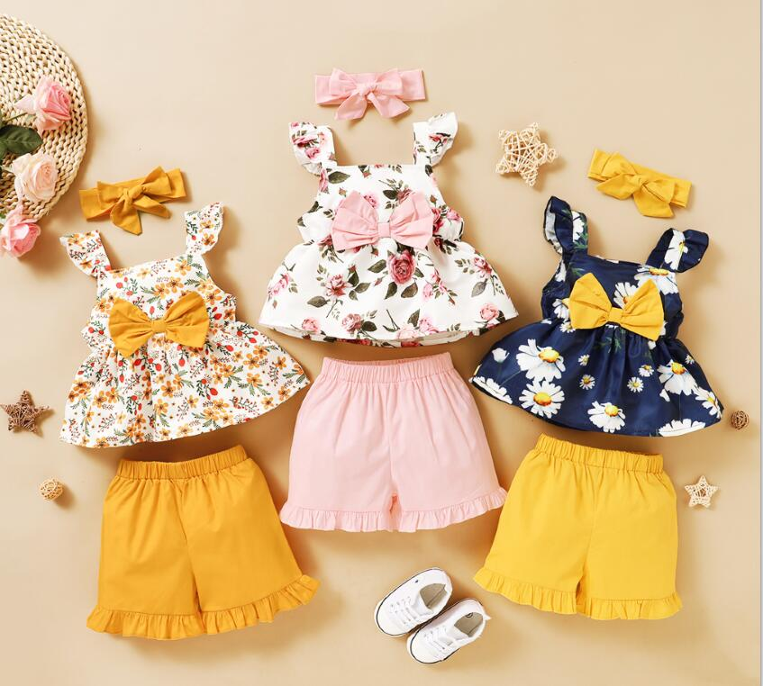 2020 Baby Summer Clothes Sets Toddler Kids Baby Girls Floral Tops T-Shirts+Shorts Pants Outfits Clothes Blue 2-3 Years Pudcoco