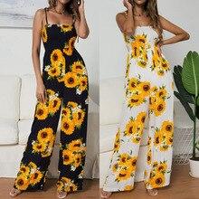 Summer Jumpsuits Rompers Leg-Pants Boho Sunflower Yellow Spaghetti-Strap High-Waist Ladies
