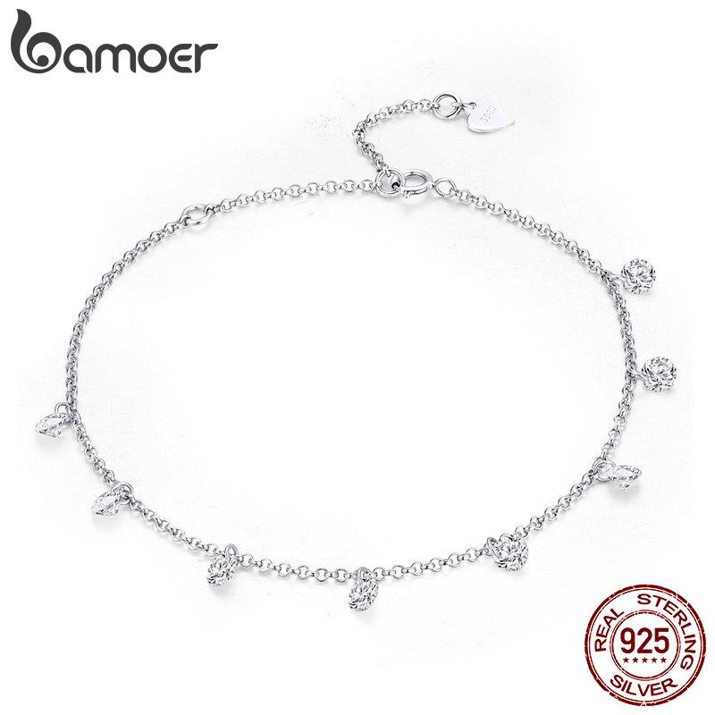 BAMOER 925 Sterling Silver Simple Geometric Crystal CZ Link Chain Bracelets & Bangles for Women Authentic Silver Jewelry SCB103(China)
