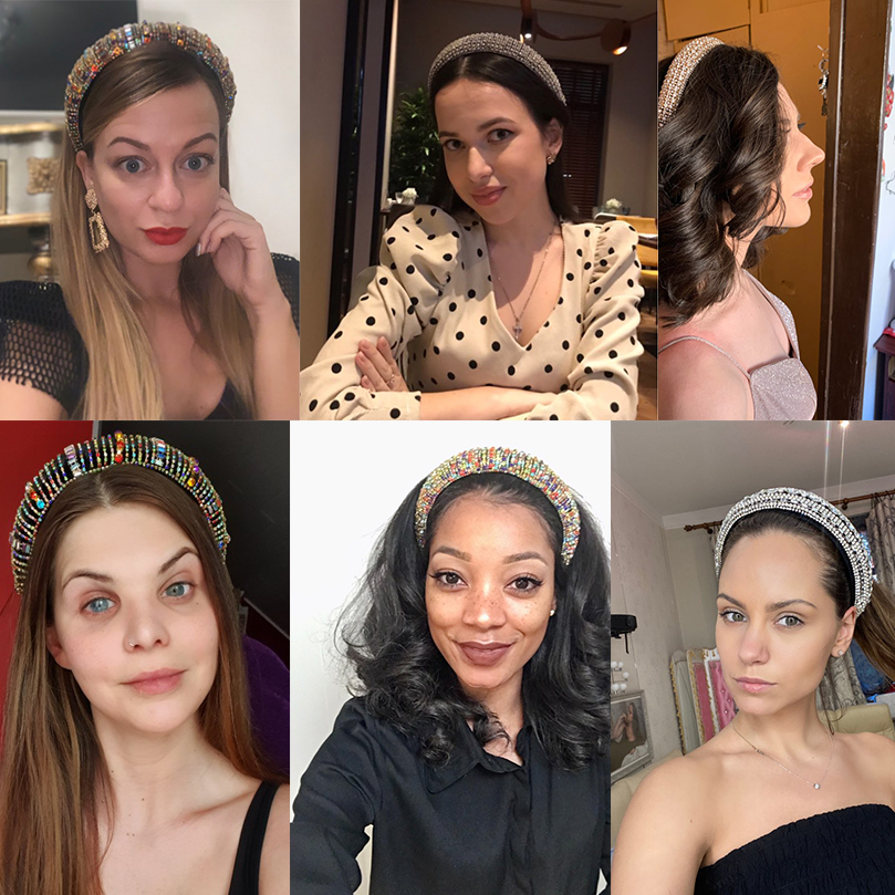 AWAYTR Rhinestone Headband Hair-Accessories Glitzy Black Silver Women Luxury Full