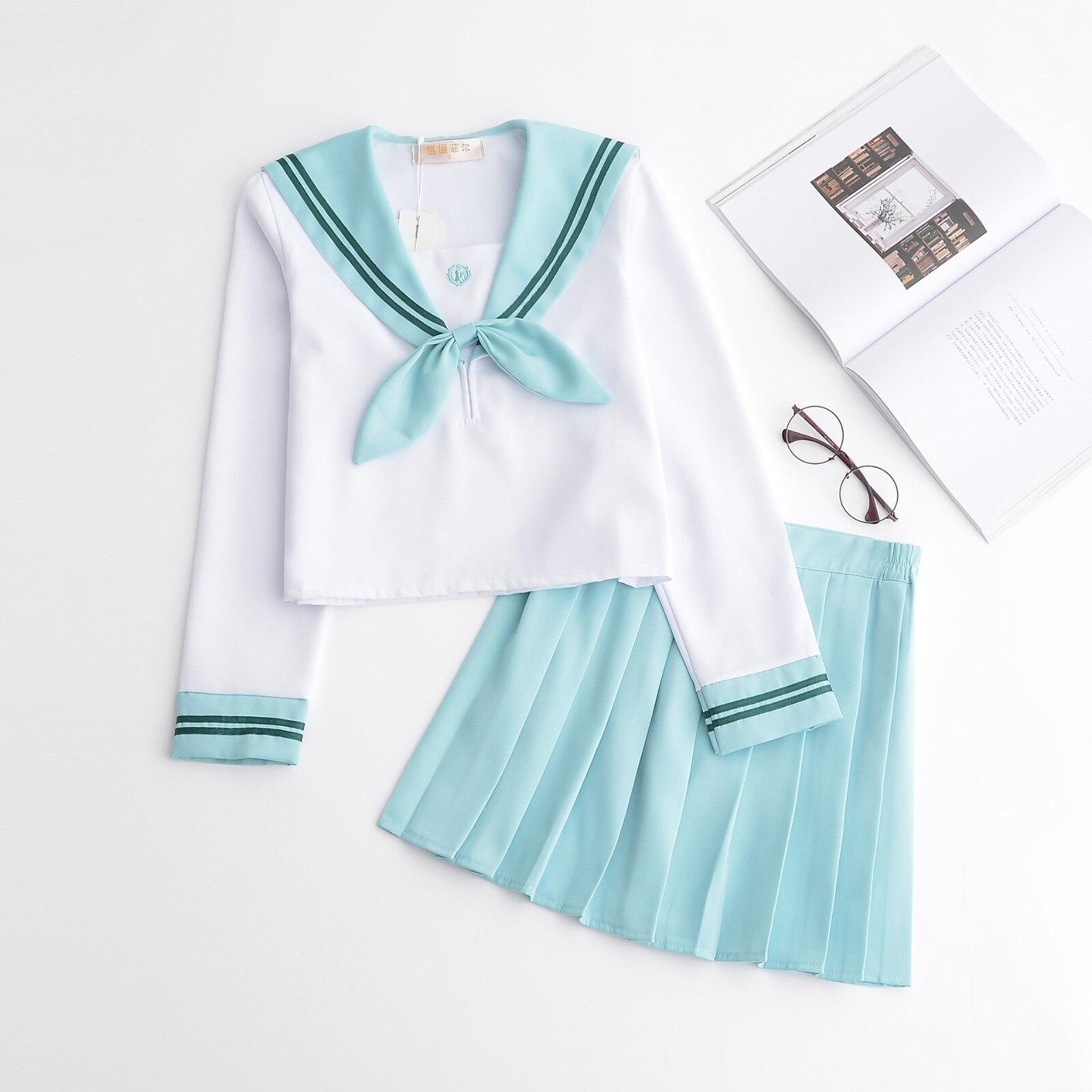 Pink Blue Schoolgirl Uniform Japanese Class Navy Sailor School Uniforms Students Clothes For Girls Anime Cos Sailor Navy Suit