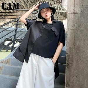 [EAM] camiseta negra con puntadas irregulares de talla grande para mujer, nueva camiseta de manga corta con cuello redondo, tendencia de moda para primavera y verano 2020 1X100