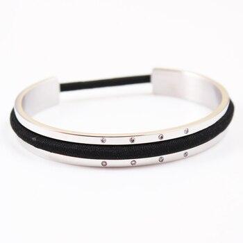 Bracelet Porte élastique en acier et strass
