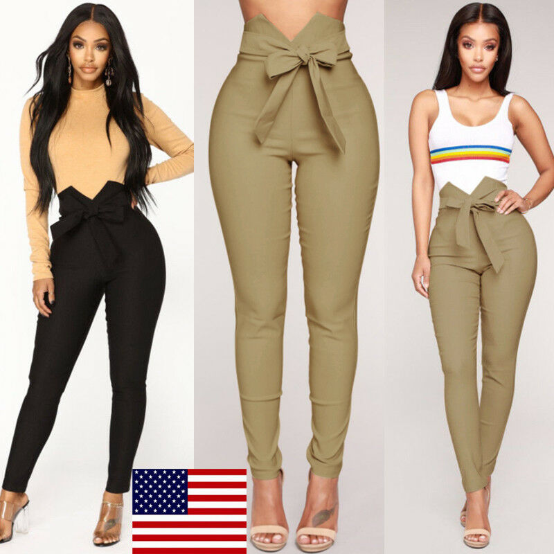 Retro Women's Pants 2019 Summer Autumn Casual Pencil Pants High Waist Drawstring Elastic Jogger Slim Trousers Girls Pants New