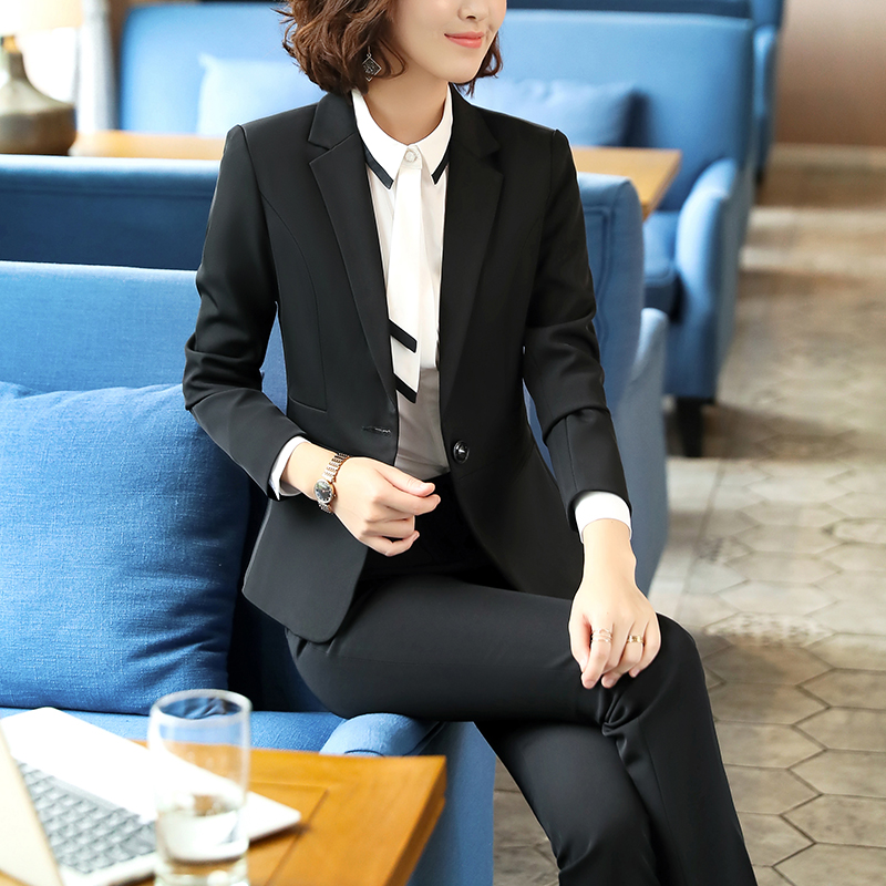 SUSIELADY Women Pant Suit Solid One Button Work Suits for Women 2 Piece Set Office Business Set Trousers Suit Ladies Suits