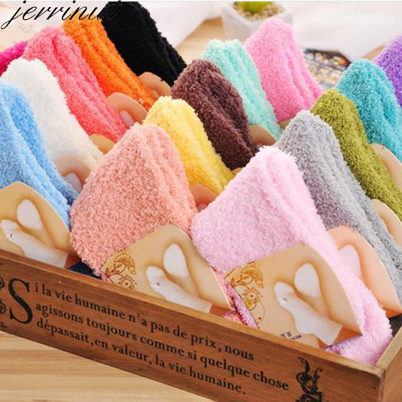 Jerrinut  1 Pair Women Winter Warm Socks Cute Candy Color Pink Color Solid Soft Fluffy Socks Coral Velvet Fuzzy Long Terry Socks