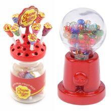 Miniature Food Dessert Sugar Mini Lollipops With Case Holder Candy Machine For Doll House 1/12 Kitchen Furniture Toys(China)