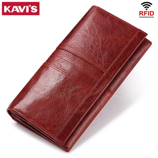 KAVIS Echtem Leder Frauen Kupplung Brieftasche und Weibliche Geldbörse Portomonee Clamp Für Telefon Tasche Karte Halter Handlich Passport walet