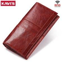 KAVIS-cartera de mano de piel auténtica para mujer, monedero femenino, abrazadera para tarjeta del bolso del teléfono, práctico Passport walet