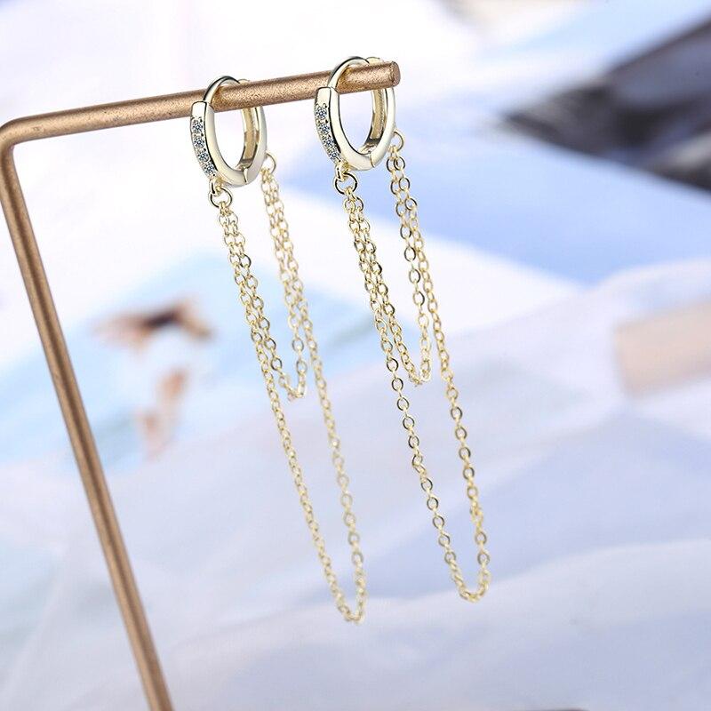 LISM 925 Sterling Silver Trendy Pendientes Endless Love Earrings For Women Long Chain Tassel Earrings 2020 Jewelry