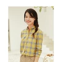 INMAN Women's Autumn Florals Plaid all match long sleeves Shirt Tops