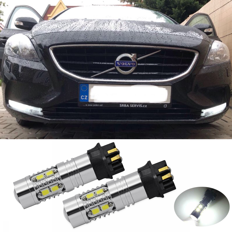 2Pcs White PW24W Canbus No OBC Error Projector DRL Daytime Lights LED Bulbs For <font><b>Volvo</b></font> <font><b>XC60</b></font> S60 <font><b>2014</b></font>-up PWY24W Turn Signal Lights image