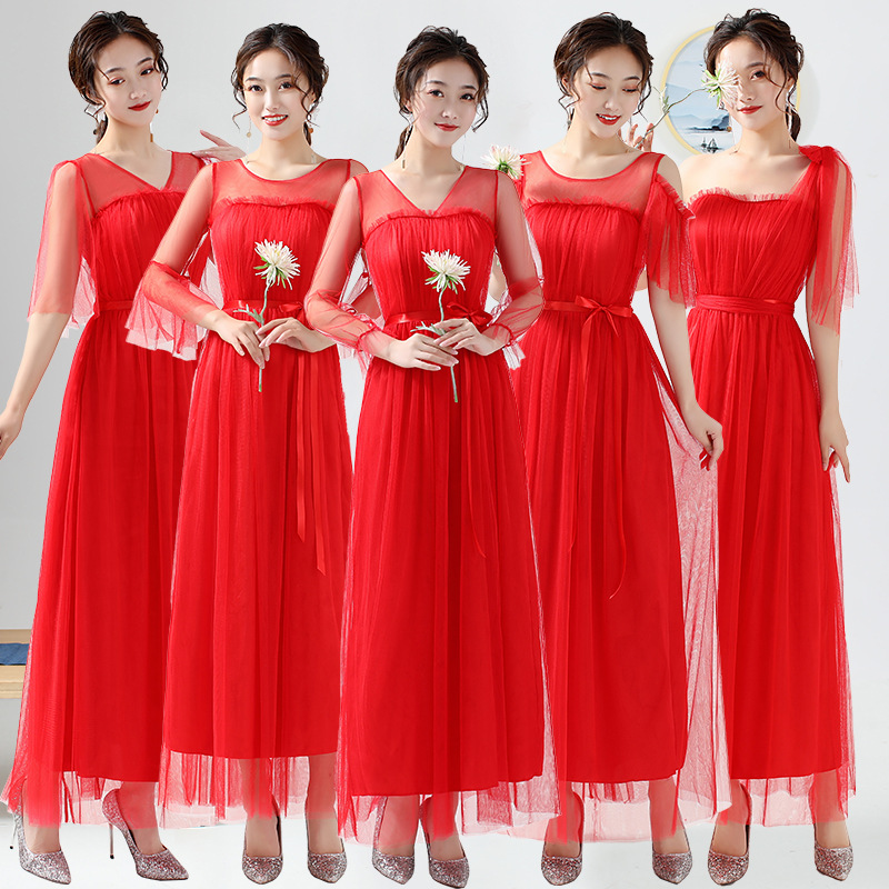 Bridesmaid Dresses Plus Size Red Bridesmaid Dresses With Sleeves 2020 Wedding Party Dress ROM80211