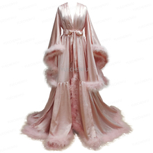 Bathrobe for Women Flare Sleeves Feather Bridal Robe Nightgown Tulle Illusion Long Wedding Scarf Dressing Gown Photography Dress