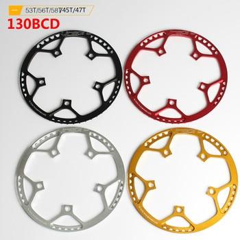 Litepro, cadena de bicicleta plegable BMX, bicicleta BCD130, plato redondo, engranaje de disco único 45 47 53 56 58T, manivela de rueda dentada