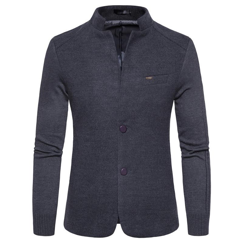 2020 New Leisure Blazer Men Jackets Male Stand Collar Male Blazers Slim Fit Mens Blazer Gray Jacket Men