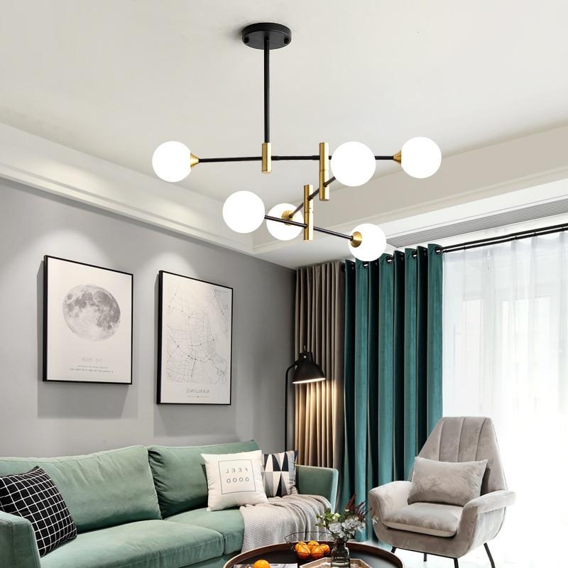 Nordic Style Glass Led Pendant Lamp Creative Minimalist Magic Beans Design Livingroom Bar Hanging Light Fixtures