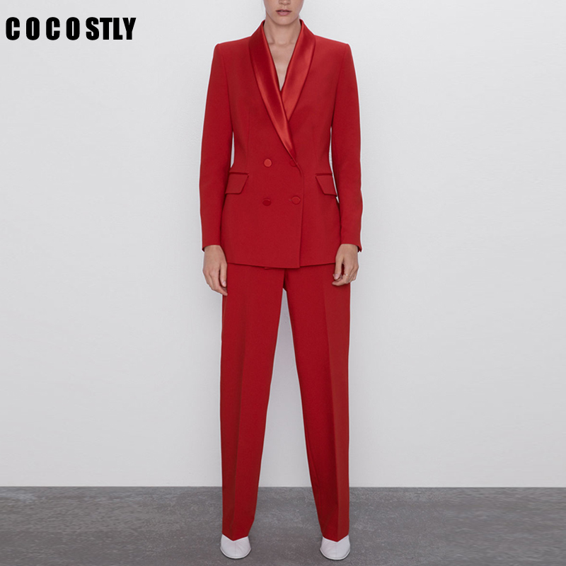 2020 Autumn Women's Pant Suit Red Elegant Double Breasted Office Lady Blazers Jacket With Zipper Trouser Female Two Pieces Set