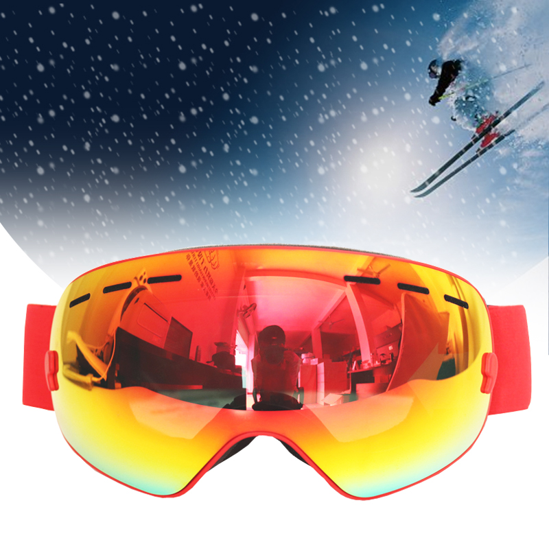 BOLLFO Ski Glasses Double Layers UV400 Anti-fog Ski Goggles Snow Skiing Snowboard Motocross Goggles Ski Masks Snowmobile Eyewear