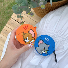 3D Cute Cartoon Tom Cat and Jerry Mouse Soft Silicone Round Earphone Case Shockproof Headphone Cover For Apple Airpods 1/2 Cases
