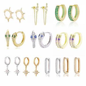 Hoop Earring Opal Huggies 925-Sterling-Silver Moonmory Women Fashion for 31-Colors