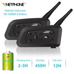 2 sztuk Walkie talkie V6 interkom motocyklowy hełm Bluetooth słuchawki i zestawy słuchawkowe dla 6 zawodników wodoodporna redukcja hałasu domofon MP3 GPS