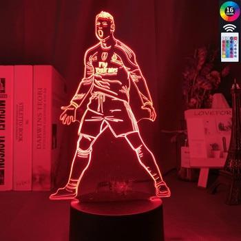 Lámpara Led de noche para niños, con Sensor táctil y luz nocturna cambiante en 3D de Cristiano Ronald, para decoración del hogar, ideal como regalo