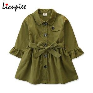 Criança do bebê da menina de cor sólida trench coat menina moda estilo britânico único-breasted bandagem longo-mangas compridas casaco 2-7 anos