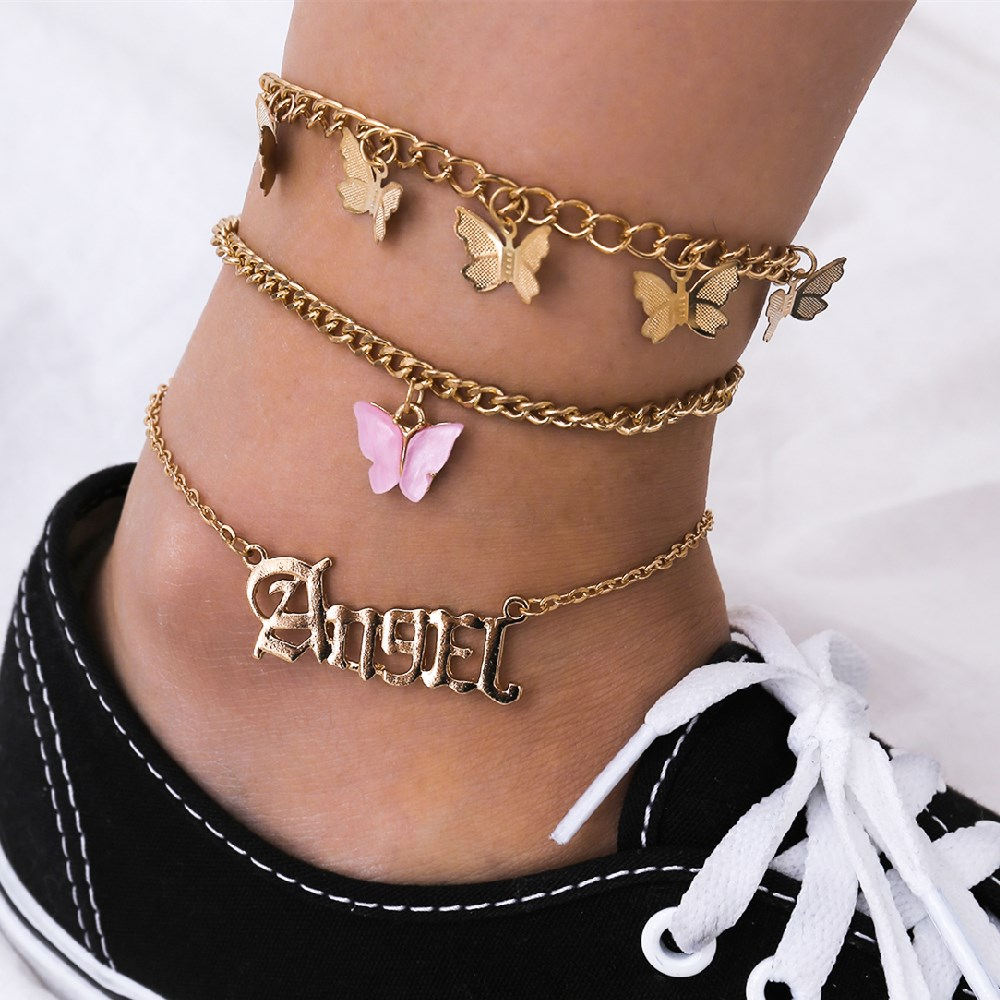 3Pcs/Set Bohemian Multilayer Letter Butterfly Anklet Set for Female Angel Word Gold Color Pink Butterfly Charm Anklet Jewelry