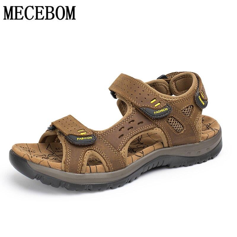 Summer Sandals Genuine Cow Leather  Big Size 38-48 Men Casual Shoes Velcro Beach Slippers Men Shoes Sandalias
