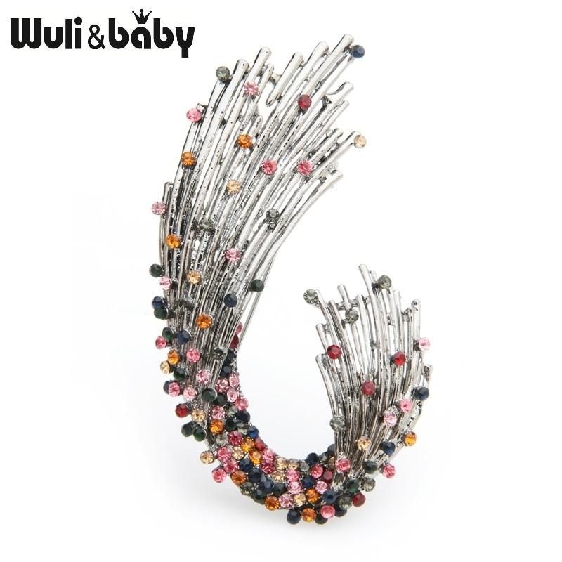 Wuli&baby Multicolor Rhinestone Geometric Shape Brooches Women Weddings Brooch Pins Gifts