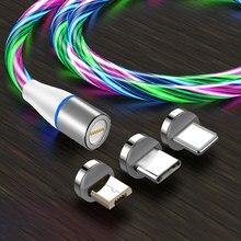 3a fluindo luz magnética cabo de carregamento rápido do telefone móvel para o iphone xiaomi 10 carregador de fio para samaung led micro usb tipo c 1m