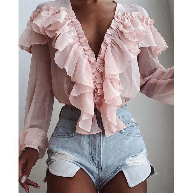 Pink Stylish Tops Autumn Ruffles Blouse Women Sexy V neck Long Sleeve Shirts Female Casual Buttons Street Blusas Plus Size XL 3