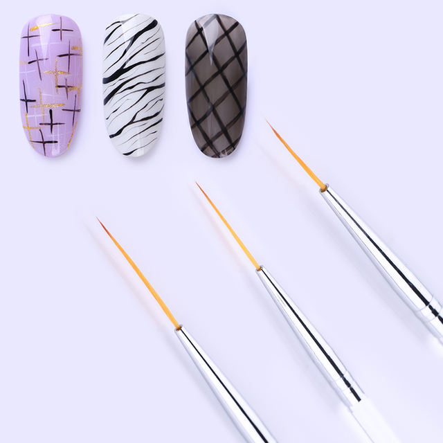 3Pcs/Set Nail Liner Brush Drawing Lines Pen Painting Flowers Transparent Handle Mixed Sizes Nail Art Brush Tools Kit