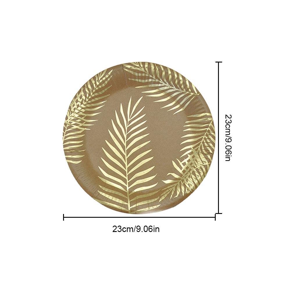 Одноразовые бумажные принадлежности для праздника набор столовых приборов Декоративный принт лотки для вечеринок Золотой цветной узор пальмовых листьев окружающей среды