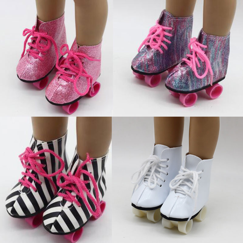 18 Inch Doll Shoes Glitter Doll Roller Skates For 18 Inch Our Generation Girl Doll Accessories