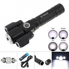 E37 T6 Super Bright 400m Lumen Rechargeable Flashlight Zoomable with 2 Wing Light+ 4 Lighting Modes LED Torch for Outdoor Hiking panyue aluminum alloy 1000 lumen xml t6 bright light rechargeable tactical torch light 5 modes led flashlight torch with clip