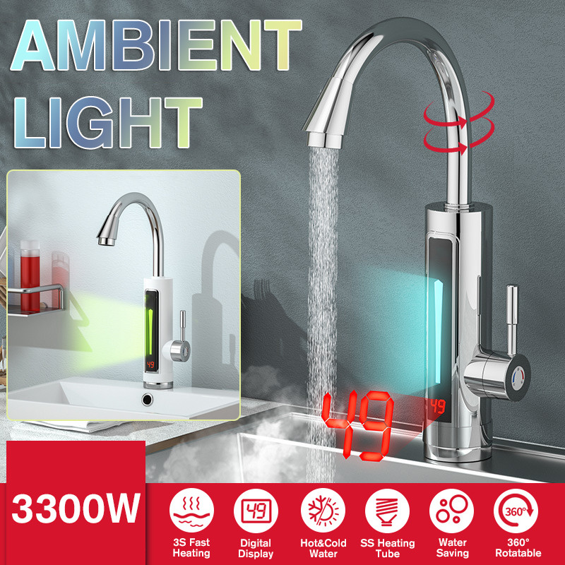 Electric Instant Water Heater Faucet Temperature Display 3300W 360 Degree Rotatable Bathroom Kitchen Instant Heating Tap