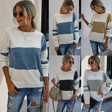 Женский осенне зимний Удобный Повседневный пуловер с длинным